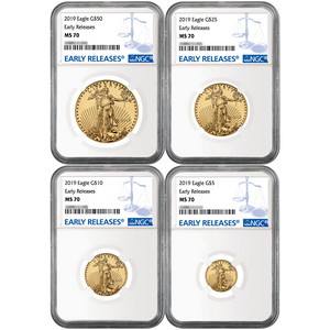 2019 Gold American Eagle 1oz ($50) 1/2oz ($25) 1/4oz ($10) and 1/10oz ($5) Ounce 4pc Set MS70 ER NGC Blue Label