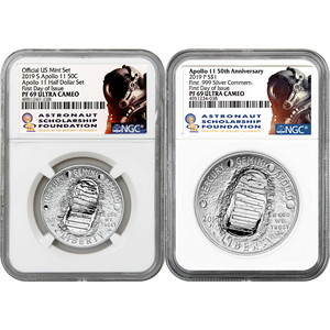 2019 S & P 50th Anniversary Apollo 11 Clad Half Dollar and Silver Dollar 2 Coin Set PF69 FDI NGC Astronaut Scholarship Foundation Label
