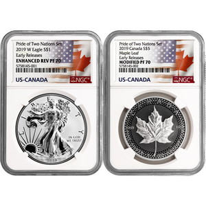 2019 Pride of Two Nations Set Enhanced Reverse Proof SAE & Modified Proof Silver Maple PF70 ER NGC Dual Flag Label