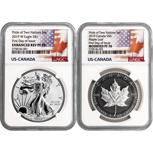 2019 Pride of Two Nations Set Enhanced Reverse Proof SAE & Modified Proof Silver Maple PF70 FDI NGC Dual Flag Label