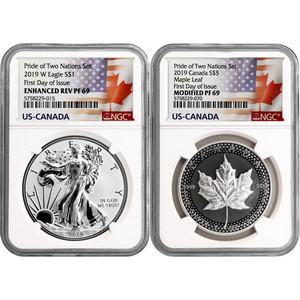2019 Pride of Two Nations Set Enhanced Reverse Proof SAE & Modified Proof Silver Maple PF69 FDI NGC Dual Flag Label