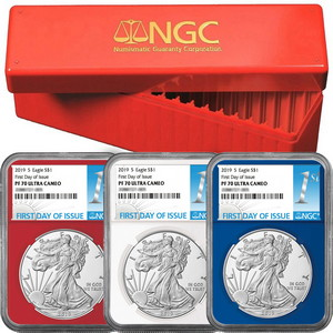 2019 S Silver American Eagle Coin PF70 UC FDI Red, White & Blue Core NGC 1st Label 3pc Set in Red NGC Box