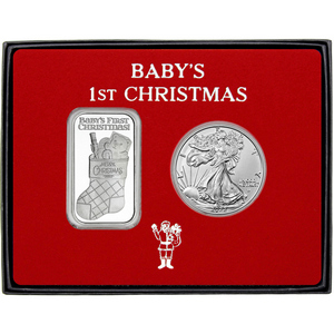 Baby's First Christmas Silver Round and Silver American Eagle 2pc Box Gift Set