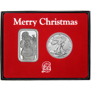 Merry Christmas Santa Claus Jolly Wishes Silver Bar and Silver American Eagle 2pc Box Gift Set