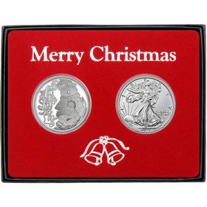 Merry Christmas Sledding Snowman Silver Round and Silver American Eagle 2pc Box Gift Set