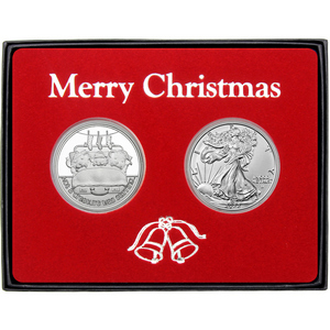 Merry Christmas Sweet Wishes Gingerbread Man Silver Round and Silver American Eagle 2pc Box Gift Set