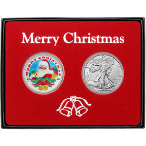 Merry Christmas Santa's List Enameled Silver Round and Silver American Eagle 2pc Box Gift Set