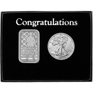 Congratulations Because of the Brave Soldier Silver Bar and Silver American Eagle 2pc Box Set
