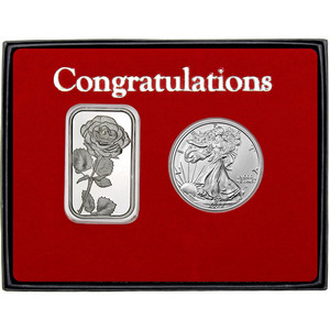 Congratulations Rose Silver Bar and Silver American Eagle 2pc Gift Set