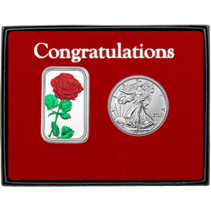 Congratulations Enameled Red Rose Silver Bar and Silver American Eagle 2pc Gift Set