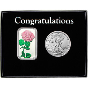 Congratulations Enameled Pink Rose Silver Bar and Silver American Eagle 2pc Gift Set