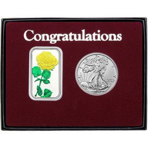 Congratulations Enameled Yellow Rose Silver Bar and Silver American Eagle 2pc Gift Set