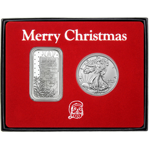 Merry Christmas Home for the Holidays Cardinals Silver Bar and Silver American Eagle 2pc Box Gift Set