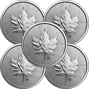 2018 Canada Silver Maple Leaf 1oz BU Coin 5pc