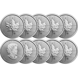 2018 Canada Silver Maple Leaf 1oz BU Coin 10pc