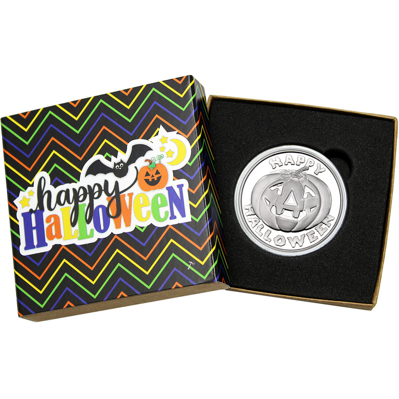 HAPPY HALLOWEEN PUMPKIN JACK-O-LANTERN RARE 1 OZ .999 SILVER ARTROUND