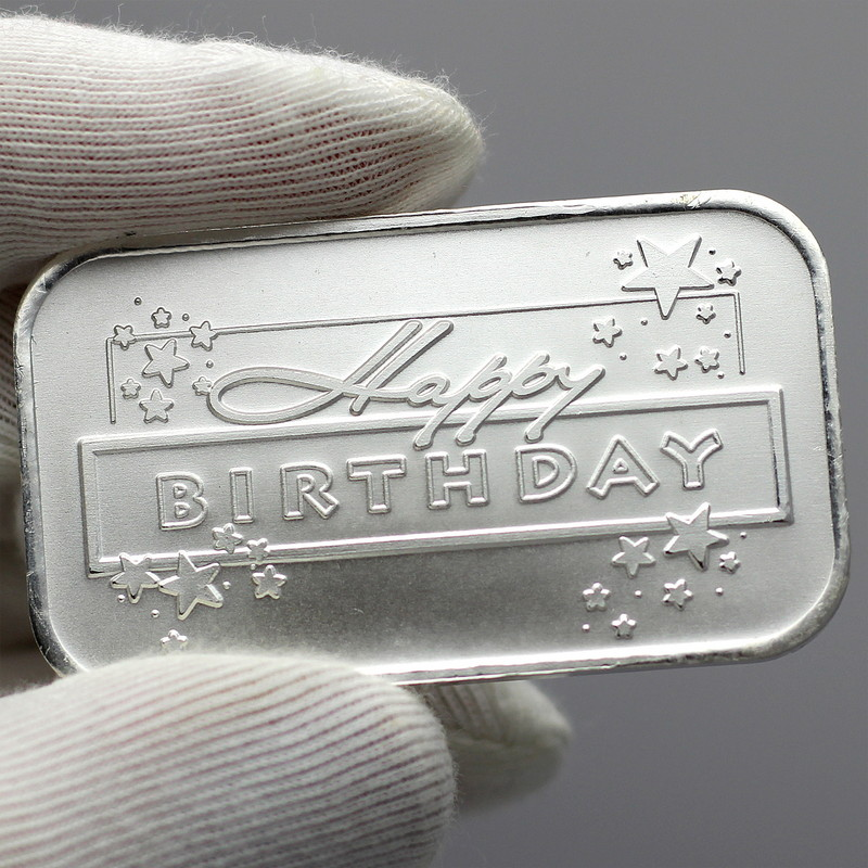2020 Happy Birthday Stars 1oz .999 Fine Silver Bar by SilverTowne in Gift Box