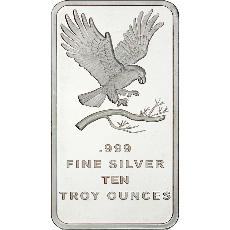 10 Oz 999 Fine Silver Trademark Eagle