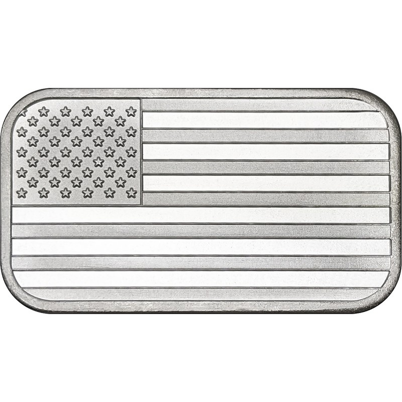 One Ounce Silvertowne Mint .999 Silver American Flag Bar 1 oz
