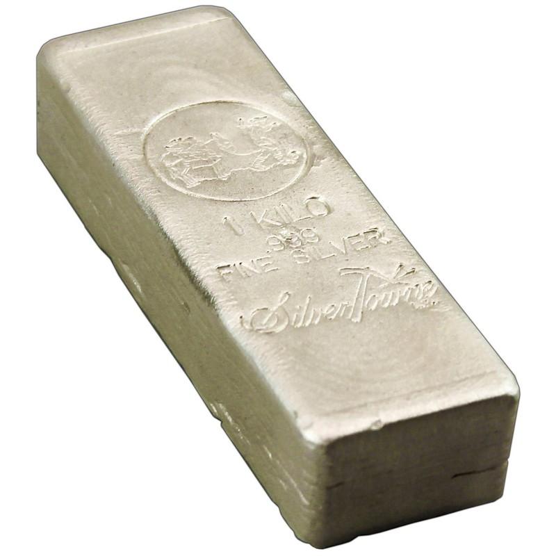 Fine Silver 1 Kilo or 32.15 oz Troy Ounces Silver Poured Shot .999