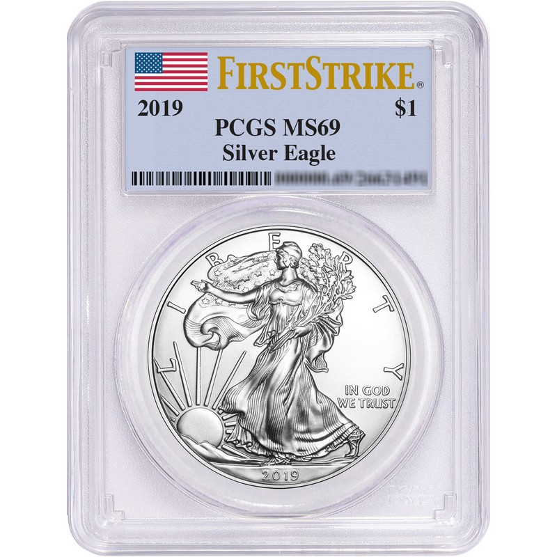 Flag Label Lot of 2-2019 1 oz Silver American Eagle $1 Coin PCGS MS 69 FS