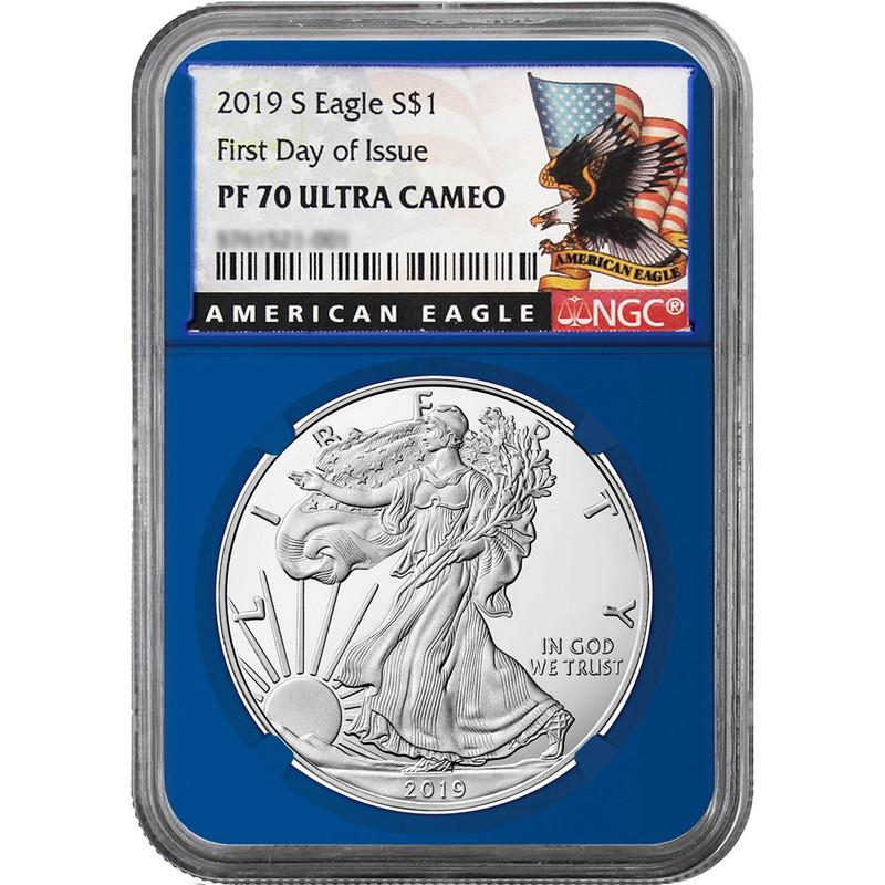 2019-S Proof $1 American Silver Eagle NGC PF70UC FDI Black Label Retro Core