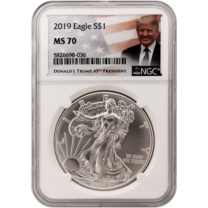 2020 Silver Eagle Donald J Trump Label Dollar MS70 NGC