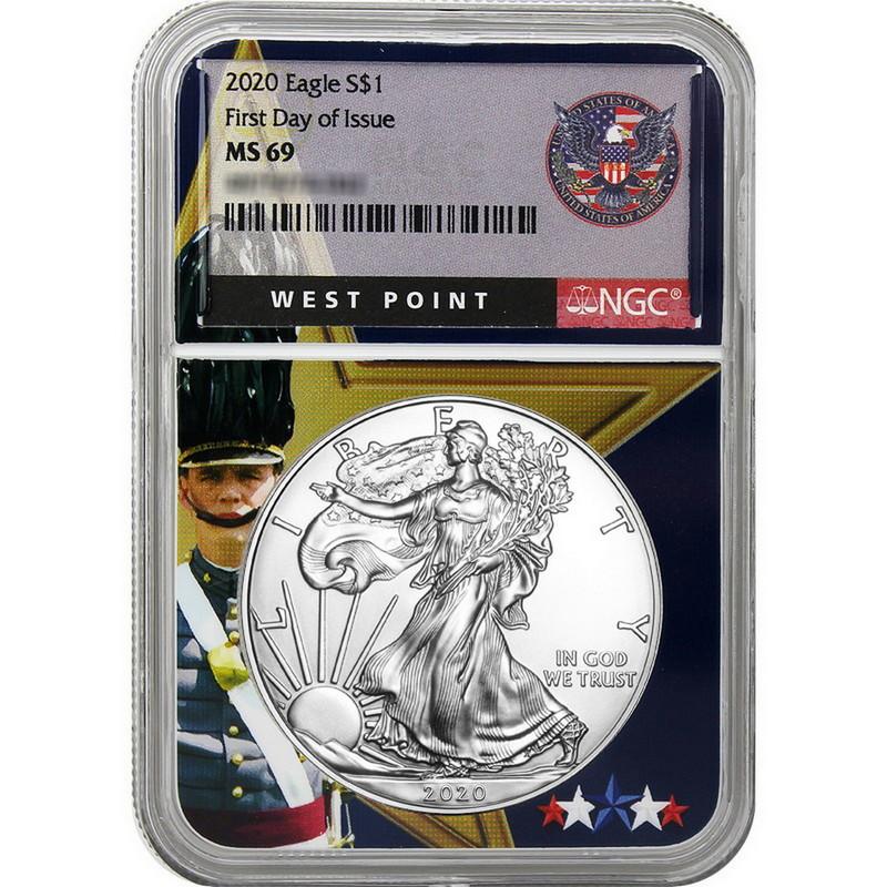 $1 American Silver Eagle NGC MS69 FDI First Label W 2020