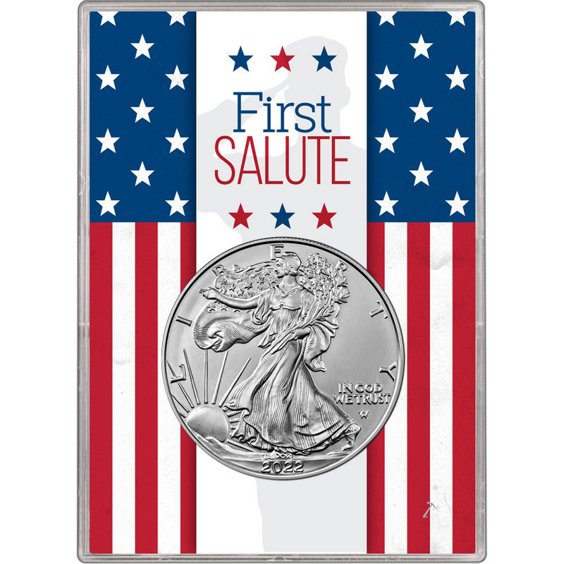 2019 Silver American Eagle BU in Silver Dollar First Salute Gift Holder