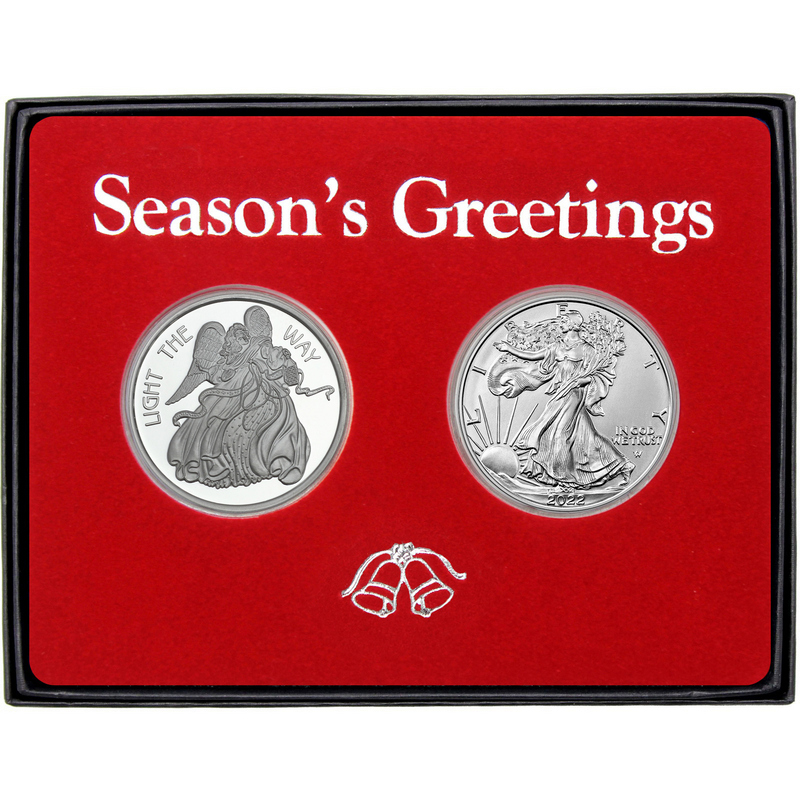 Season's Greetings All is Calm All is Bright Angel Silver Round and Silver  American Eagle 2pc Box Gift Set