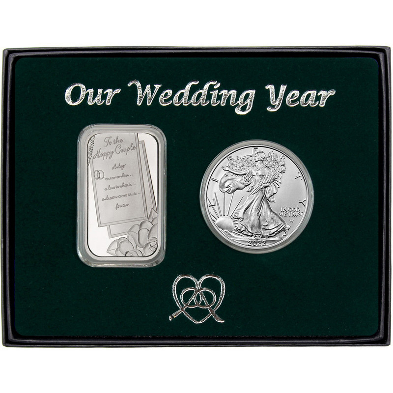 Our Wedding Year Silver Bar and Silver American Eagle 2pc Gift Set