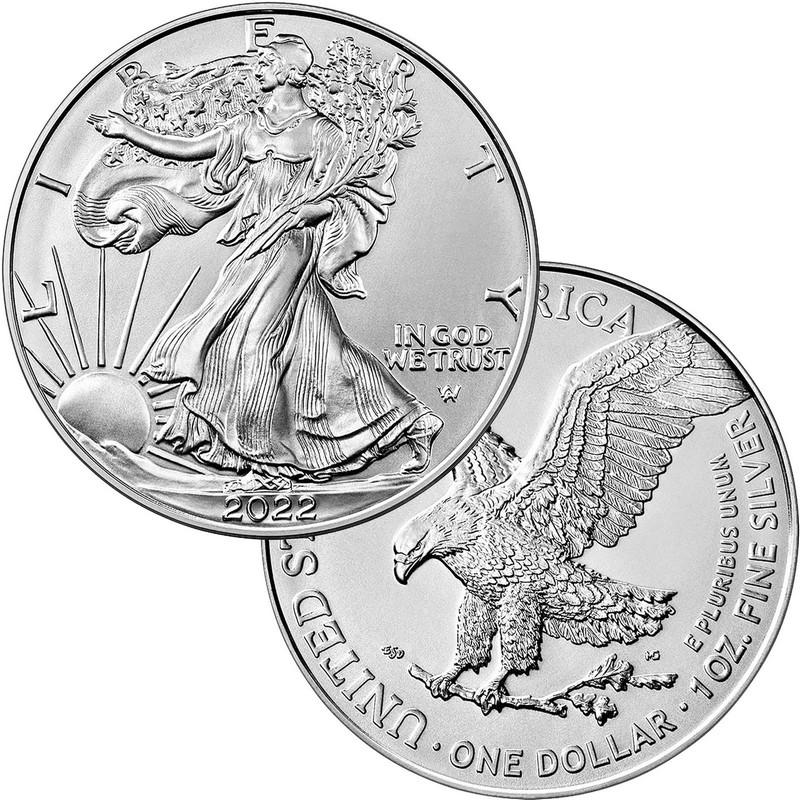 Our Wedding Year Silver Couple Round and Silver American Eagle 2pc Gift Set