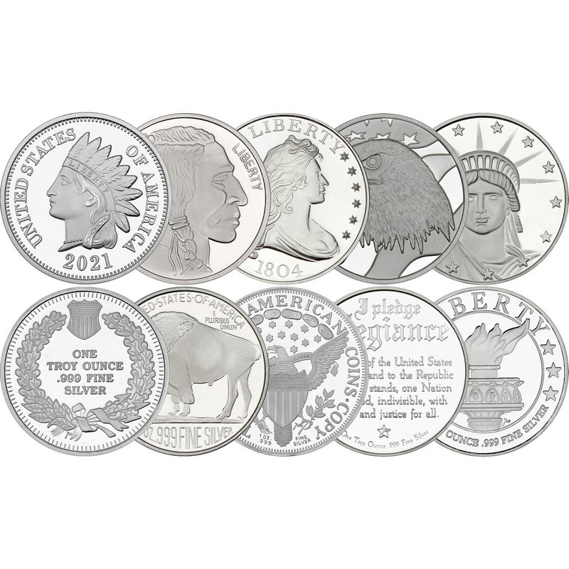 10 Piece Silver Medallion 1 oz Mixed Designs | SilverTowne
