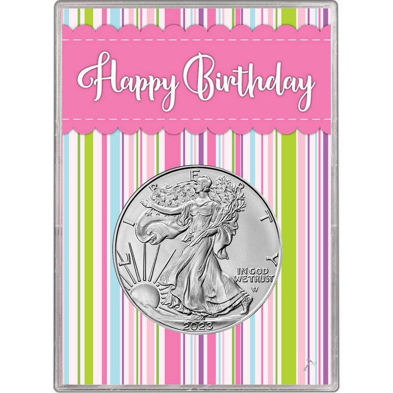 Happy Birthday Design 2018 $1 American Silver Eagle HE Harris Holder