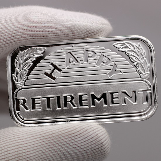 Happy Retirement 1oz .999 Silver Bar Close up of Design