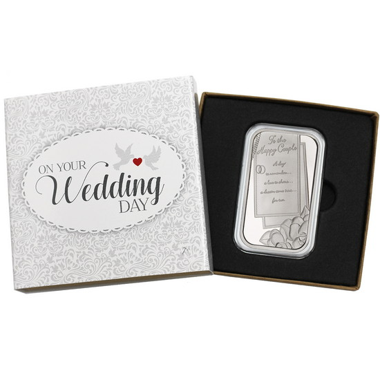 Wedding To The Happy Couple 1oz .999 Silver Bar Dated 2018