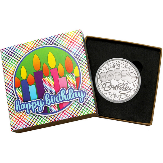 Happy Birthday Balloons 1oz .999 Silver Medallion Dated 2018