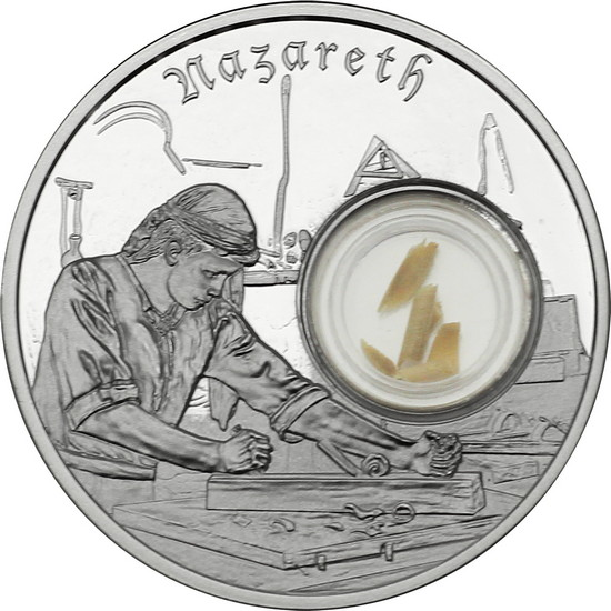 2019 Niue Silver In the Footsteps of Jesus: Nazareth with Olive Wood from Nazareth 1oz Proof in OGP
