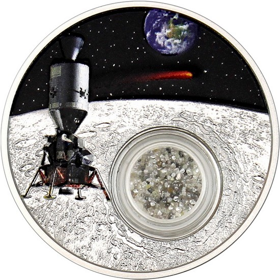 2019 Silver 50th Anniversary Moon Landing-Diamond 1oz Proof Coin in OGP