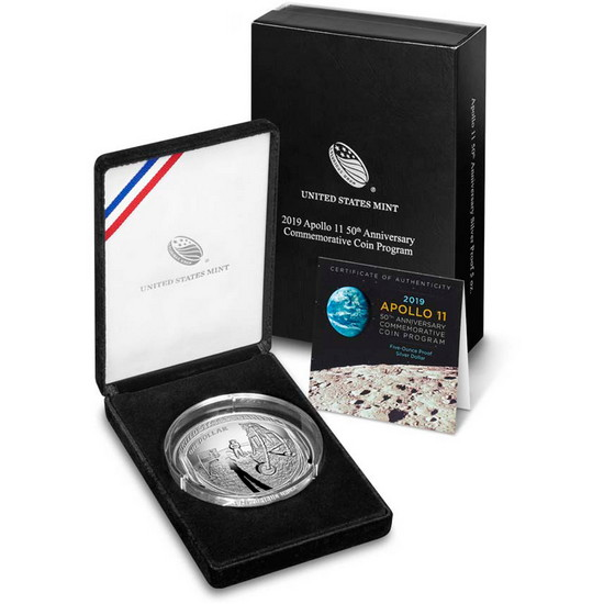 2019 P Apollo 11 50th Anniversary 5 Ounce Silver Dollar Coin in OGP