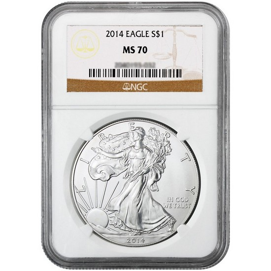 2014 Silver American Eagle MS70 NGC Brown Label