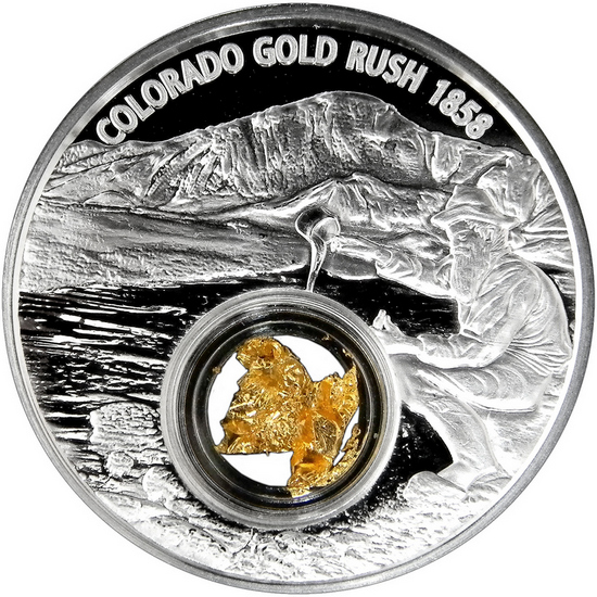 2017 Niue Silver Colorado Gold Rush 1oz Proof Coin Coin with 24kt Gold Leaf