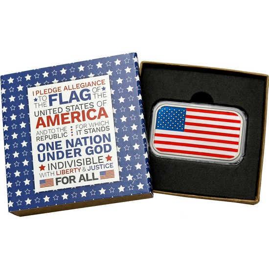 American Flag 1oz .999 Silver Bar Enameled