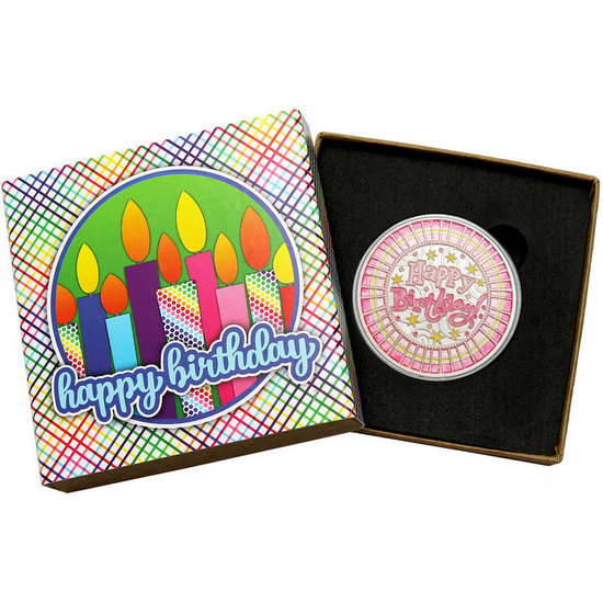 Happy Birthday Stripes 1oz .999 Silver Medallion Pink Glitter Enameled