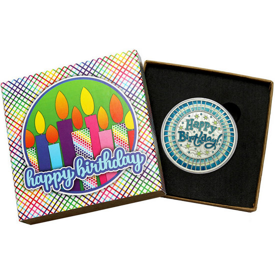 Happy Birthday Stripes 1oz .999 Silver Medallion Blue Enameled