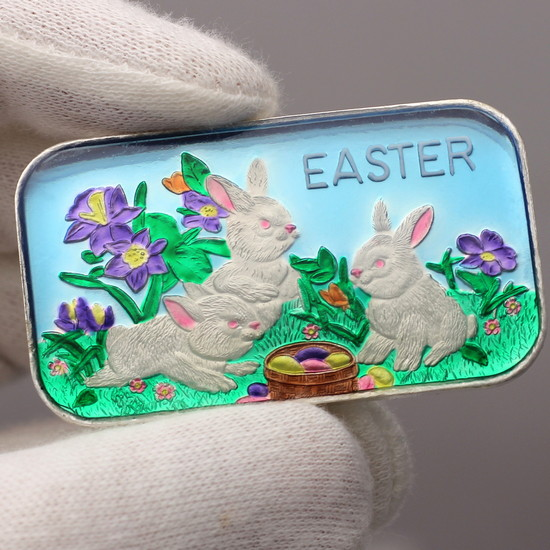 Close Up Hand Enameled Silver Easter Bunny Rabbits & Basket 1oz .999 Silver Bar