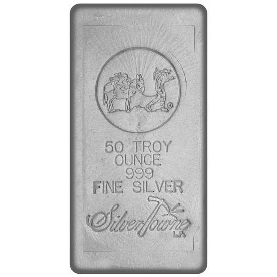 50 Oz Hand Poured Silver Bar 999 Fine Silver Silvertowne