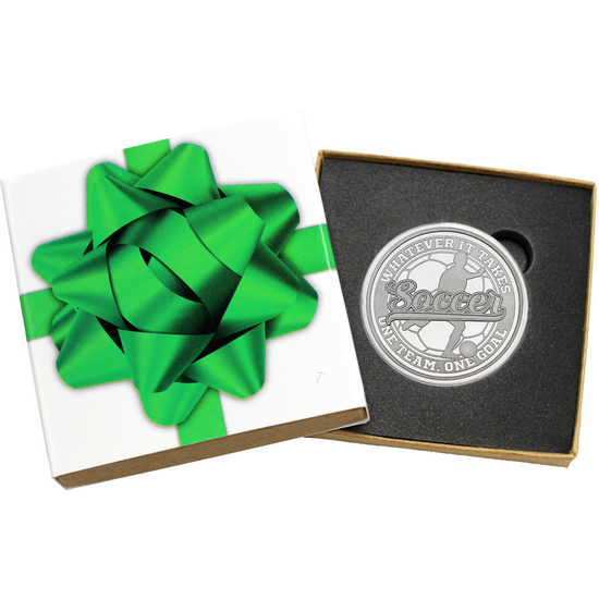 Soccer Whatever It Takes One Team One Goal 1oz .999 Silver Medallion in Gift Box