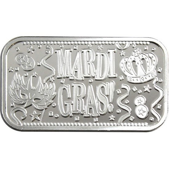 Mardi Gras 1oz .999 Silver Bar