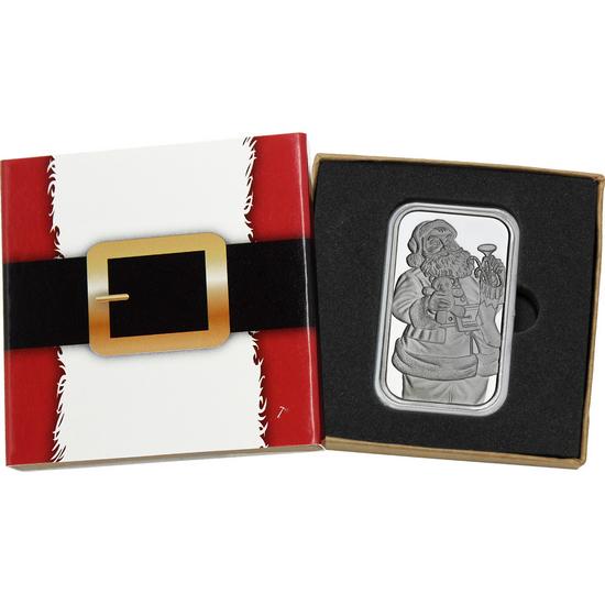 2017 Merry Christmas Jolly Santa Face 1oz .999 Silver Bar